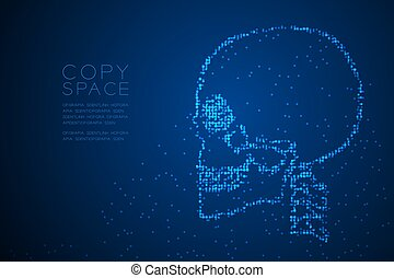 Abstract Geometric Circle dot pixel pattern Skull side view shape, medical science concept design blue color illustration isolated on blue gradient background with copy space, vector eps 10