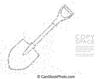 Abstract Geometric Circle dot pixel pattern Spade shape, Construction concept design black color illustration on white background with copy space, vector eps 10