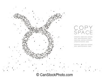Abstract Geometric Circle dot pixel pattern Taurus Zodiac sign shape, star constellation concept design black color illustration on white background with copy space, vector eps 10