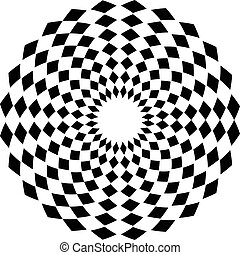 Abstract geometric circle element with square pattern. ...