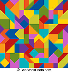 Abstract Geometric Colorful Seamless Pattern of Angled Figures.