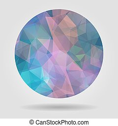 Abstract geometric colourful spherical shape from triangular fac