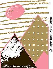 Abstract geometric composition Hand drawn vintage texture -...