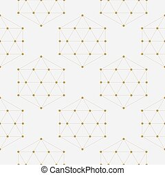 Abstract geometric composition with decorative hexagons seamless pattern.
