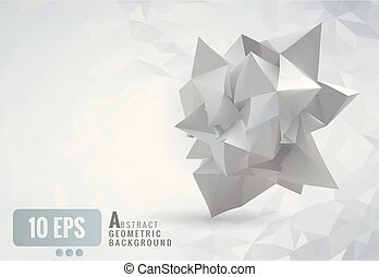 Abstract geometric crumpled paper shape on white polygonal background