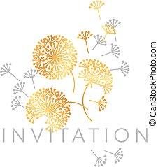 Abstract geometric dandelion flowers.