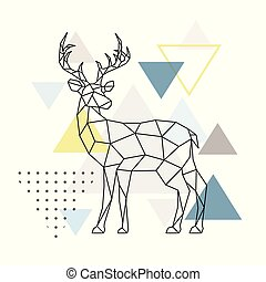 Abstract geometric deer. Side view. Scandinavian style.