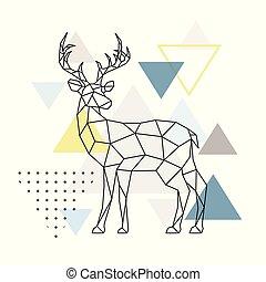 Abstract geometric deer. Side view. Scandinavian style.