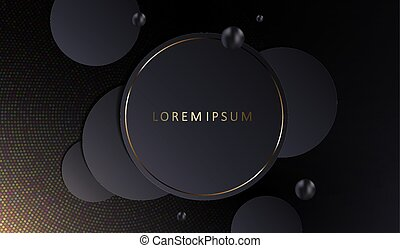 Abstract geometric design with a dark round frame with a gold rim