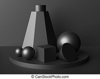Formes géométriques abstraites discrètes nature morte noire - ...