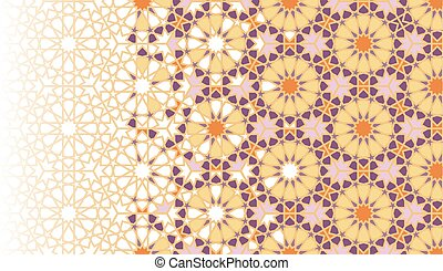 Abstract geometric flowers repeating vector border.