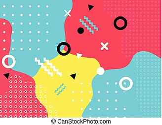 Abstract geometric form with line and dots pattern trendy memphis style on colorful background.