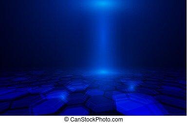 Abstract geometric futuristic digital concept technology on dark blue background