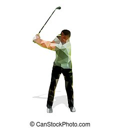 Abstract geometric golf player. Polygonal golfer silhouette