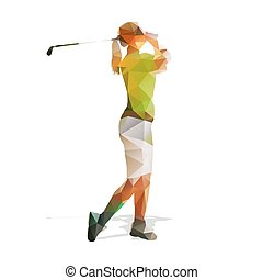 Abstract geometric golf player. Polygonal golfer silhouette. Woman playing golf