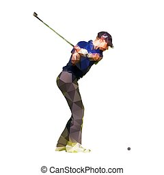 Abstract geometric golf player, polygonal silhouette