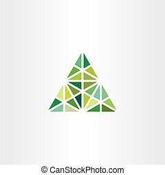 abstract geometric green triangle vector icon