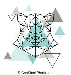 Abstract geometric head of a polar bear.
