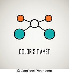 Abstract geometric lattice, molecules on same chain. ...