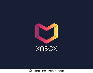 Abstract geometric letter M logo template with hexagonal element object. cube box shape icon symbol design for mail, corporate business, apps, data technology. Vector illustration.