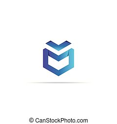 Abstract geometric letter M logo template with infinity hexagonal element object. cube box shape icon symbol design for mail, corporate business, apps, data technology. Vector illustration.
