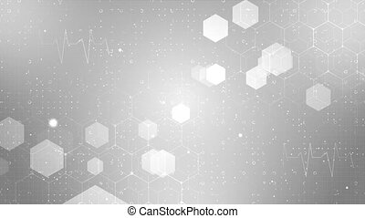 Abstract geometric background. Hexagons design for medical, science and digital technology. Molecular structure and molecule dna healthcare technology, innovation medicine, health, research.