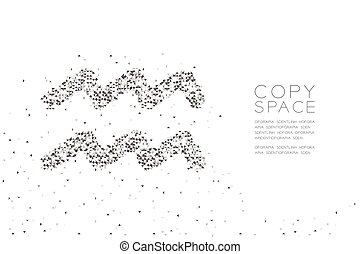 Abstract Geometric Low polygon square box pixel and Triangle pattern Aquarius Zodiac sign shape, star constellation concept design black color illustration on white background with copy space, vector