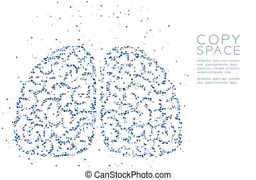 Abstract Geometric Low polygon square box pixel and Triangle pattern Brain front view shape, creative science concept design blue color illustration on white background with copy space, vector eps 10
