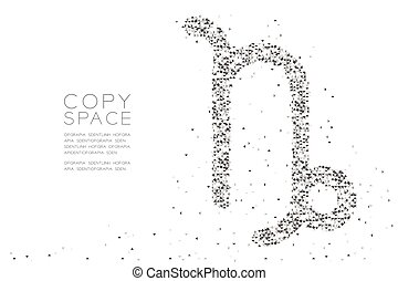 Abstract Geometric Low polygon square box pixel and Triangle pattern Capricorn Zodiac sign shape, star constellation concept design black color illustration on white background with copy space, vector