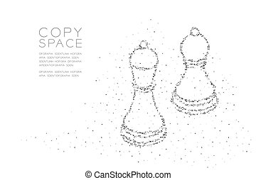 Abstract Geometric Low polygon square box pixel and Triangle pattern Chess Bishop and pawn shape, Business strategy concept design black color illustration on white background with copy space, vector
