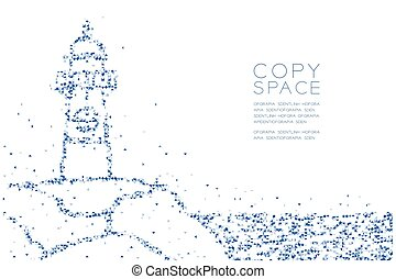 Abstract Geometric Low polygon square box pixel and Triangle pattern Lighthouse shape, aquatic and marine life concept design blue color illustration on white background with copy space, vector eps 10