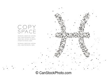 Abstract Geometric Low polygon square box pixel and Triangle pattern Pisces Zodiac sign shape, star constellation concept design black color illustration on white background with copy space, vector