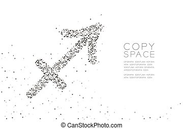 Abstract Geometric Low polygon square box pixel and Triangle pattern Sagittarius Zodiac sign shape, star constellation concept design black color illustration on white background with space, vector