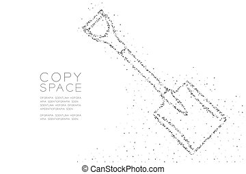 Abstract Geometric Low polygon square box pixel and Triangle pattern Shovel shape, Construction concept design black color illustration on white background with copy space, vector eps 10