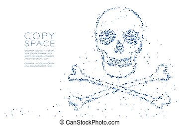 Abstract Geometric Low polygon square box pixel and Triangle pattern Skull and crossbones shape, dangerous concept design blue color illustration on white background with copy space, vector eps 10