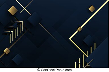 Abstract geometric luxury gold and dark blue background