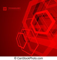 Abstract geometric overlapping hexagon shape technology digital futuristic concept perspective red background with space for your text.