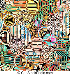 graphic pattern of multicolored circles of different textural