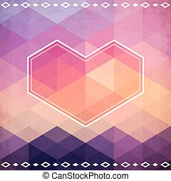 Abstract geometric pattern with pink heart