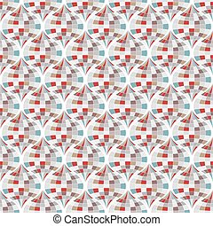 Abstract geometric pattern with wavy lines and stripes.
