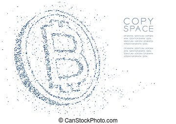 Abstract Geometric polygon square box and Triangle pattern Bitcoin cryptocurrency shape, Blockchain technology concept design blue color illustration isolated on white background with copy space