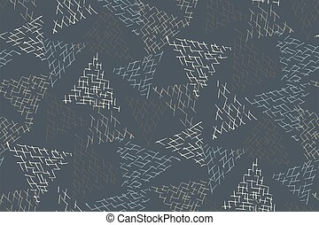 Abstract geometric randomly scattered triangles dark seamless pattern. Vector doodle illustration.