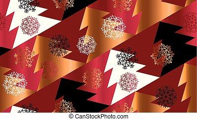 Abstract geometric red xmas tree seamless pattern