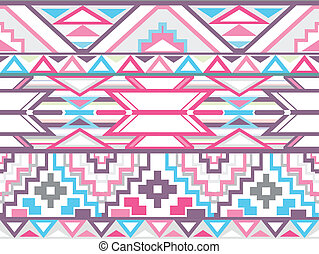 Abstract geometric seamless aztec pattern. Colorful ikat...