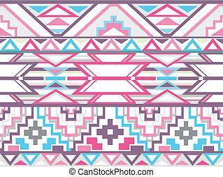 Abstract geometric seamless aztec pattern. Colorful ikat...