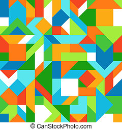 Abstract Geometric Seamless Pattern of Angular Blue, Green, Orange, Yellow, White Shapes. Graphic Harmonious Composition in Bright Summer Colors.
