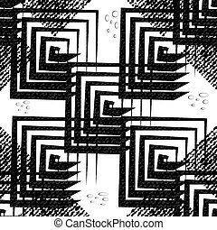 Abstract geometric seamless pattern of black squares on a light background.