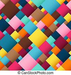Abstract Geometric Seamless Pattern of Blue, Brown, Orange, Pink, Yellow Squares.