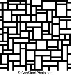 Abstract geometric seamless pattern. White rectangles over black