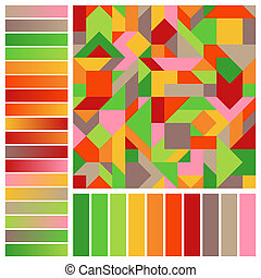 Abstract Geometric Seamless Pattern with Brown, Green, Orange, Red, Pink, Yellow Color Swatches and Gradients.